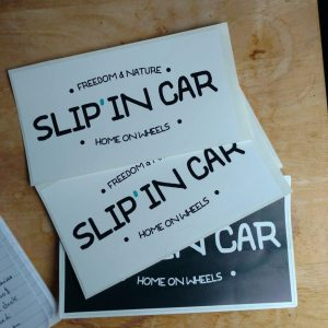 Slip'in car sticker blanc