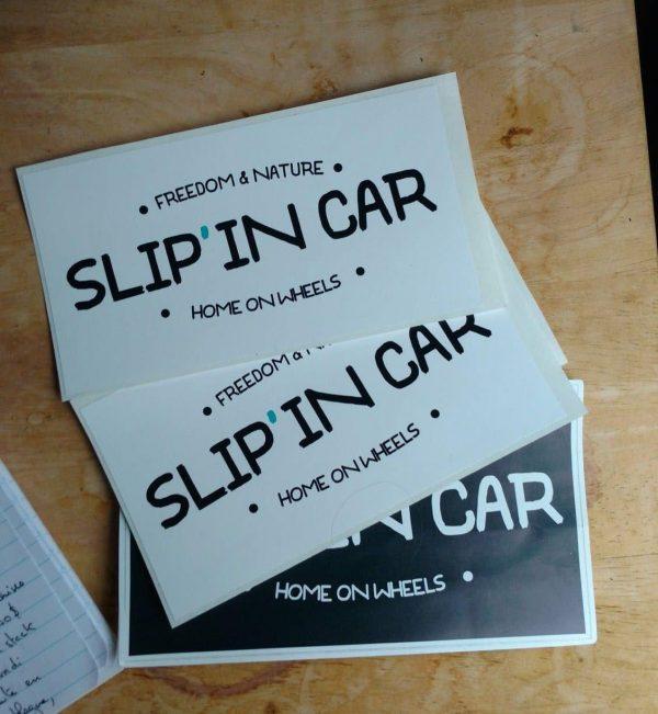 Slip'in car sticker blanc